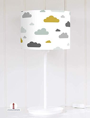 Lampenschirm für Tischlampe Wolken Kinderzimmer in Mint Senfgelb und Grau zum Nähen aus Baumwolle - alle Farben möglich