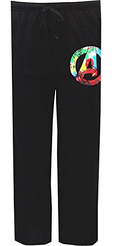 Mad Engine Men's Marvel Comics Avengers Logo Navy Black Lounge Pants (Medium)