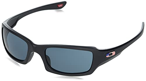 Oakley Men's OO9238 Fives Squared Rectangular Sunglasses, Matte Black/Prizm Grey, 54mm