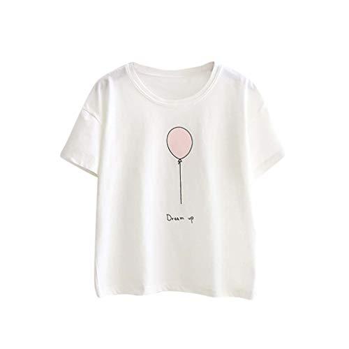 JURTEE Camiseta Blanco para Mujer Simple Casual Impreso Tops De Manga CortaSuave Adolescente Chica Camiseta
