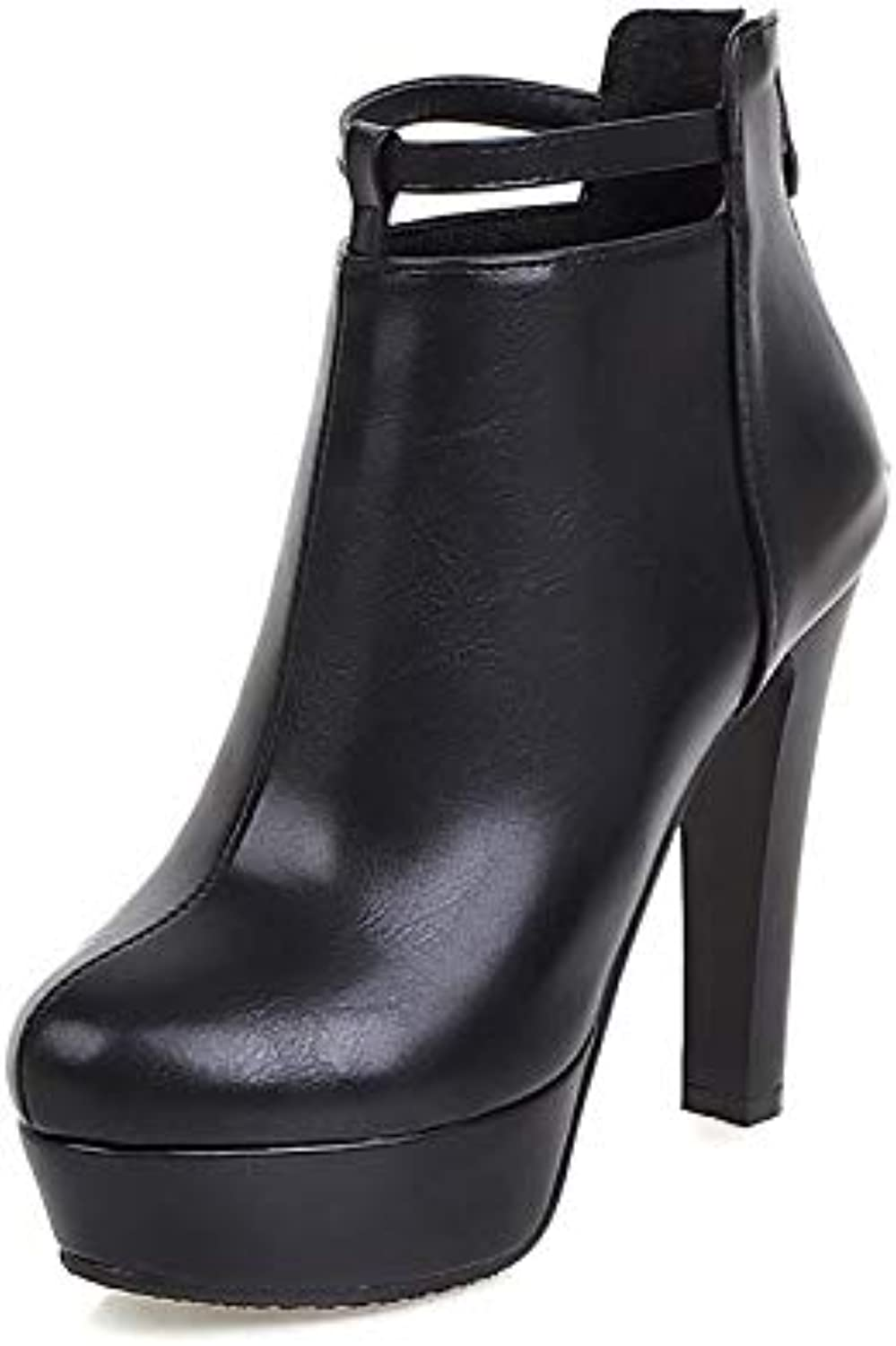 Donna Fashion Boots Faux Leather Winter British Boots Chunky Heel Round Toe Booties /Ankle Boots White /Black / Red /Party *Sera