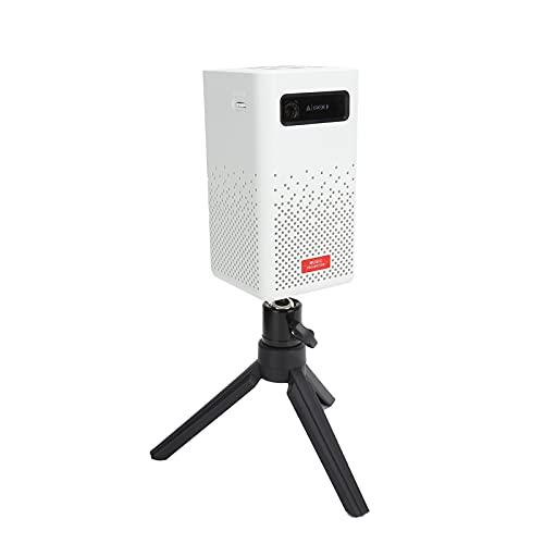 Proyector WiFi BT5.0 1080P con Pantalla de 120', Proyector de Video HD 4K DLP para películas al Aire Libre Compatible con TV Stick, HDMI, USB, AV, Smartphone, PC(Blanco-UE)