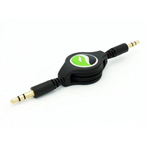 Retractable Aux Cable Car Stereo Wire Audio Speaker Cord 3.5mm Jack Adapter Auxiliary [Black] for Samsung Galaxy J7 Sky Pro - Samsung Galaxy Kids Tab 3 7.0