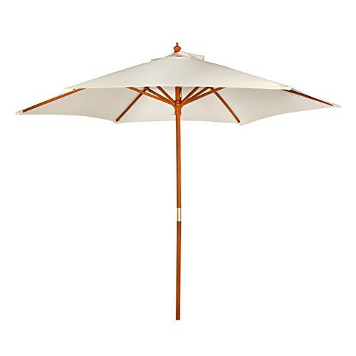 AKTIVE Garden 53860 Parasol hexagonal, diámetro 270 cm, crema mástil madera