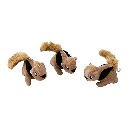 Outward Hound Lot de 3 peluches écureuils Squeakin' Squirrel - recharge pour jeu d'intelligence