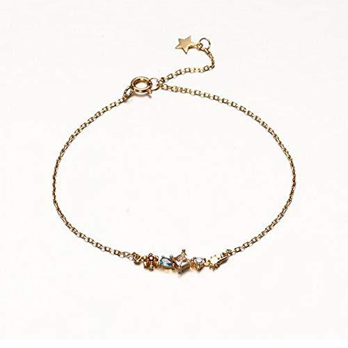 BLINGBRY De 14 K goudkleurige zilveren armbanden voor vrouwen elegante bonte vierkante zirkonia's voor vrouwen werken huwelijks-sieradengeschenken om