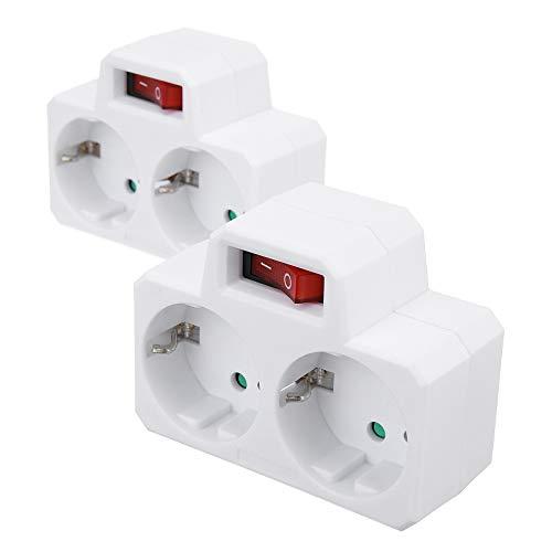 LIUMY 2 pcs adaptador enchufe doble,blanco ladron enchufes enchufe con interruptor(Cerradura de seguridad incorporada) 3680W  Max. 250V  16A,Apto para piso compartido, viajero dormitorio 120g (A)