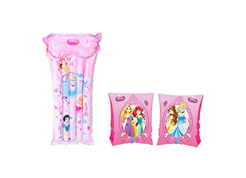 Set Infantil para Piscina de Princesas Disney. Colchoneta hinchable y Manguitos hinchables. Buen Vinilo, Resistente al Agua y Rayos UV. con válvulas de Seguridad para la máxima Seguridad de lo