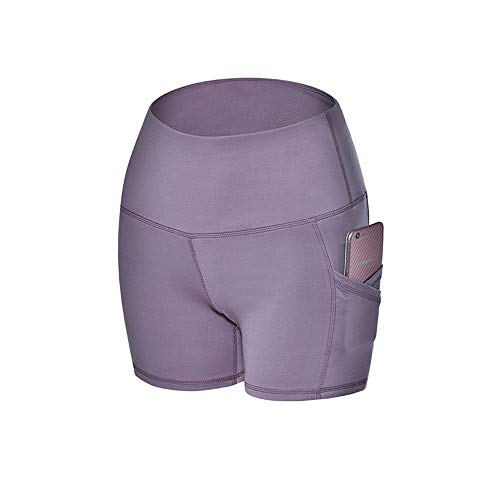 SKKG Damen Kurz Sport Leggins, Yogahose Workout Shorts Hohe Taille Sport Tights Mit Taschen Sporthose Damen Sport Leggings Kurze 3/4 Lang...
