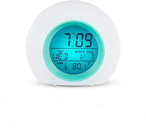 Wisdom Link - Reloj despertador digital para niños, 7 colores, luz nocturna, repetición, detección de temperatura para niños,...