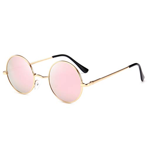Senmubery Gafas de Sol Redondas Polarizadas de Moda Clásica para Hombres Revestimiento Retro Retro Gafas de Sol (Rosa