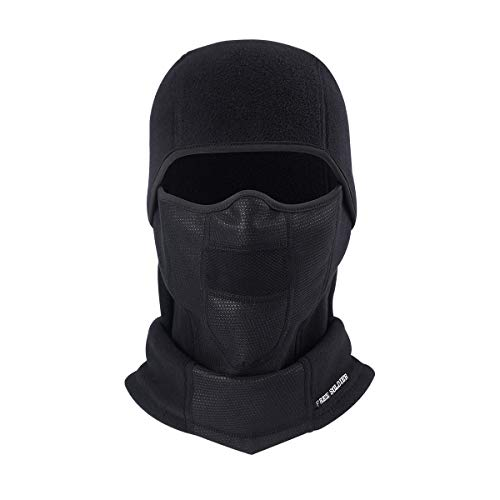 FREE SOLDIER Winter Balaclava Ski Mask Motorcycle Mask for Men & Women Fleece Neck Gaiter for Snowboarding Cycling Black (1 Pack)