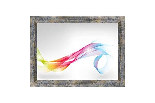 Framo 'Artist' 90 x 170 Bilderrahmen (Blau Silber Gold) nach Maß, 35 mm breiter MDF-Holz Rahmen inkl. entspiegelter Anti-Reflex Acrylglasscheibe, Stabiler Rückwand, Biegestiften und Aufhängern