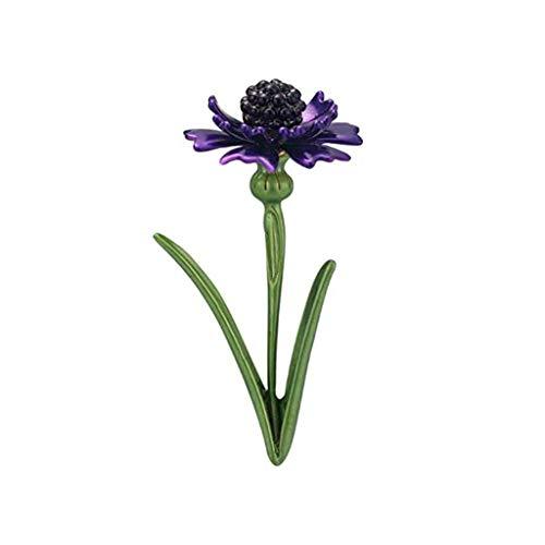 DAGONGREN Broche Retra de la Flor de Cristal de aleación de Flores Retro joyería for el Hombre y la Mujer 6.8 * 3.0cm (Color : Purple)