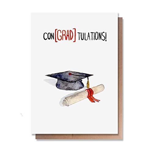 Wunderkid Graduation Card, ConGRADulations, Congrats Graduate Class of 2021 (1 Single Card, Blank inside)