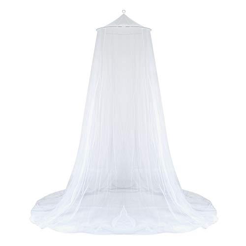 GWHOLE 蚊帳 天蓋カーテンモスキートネット円形蚊帳 防虫 防蚊 ホワイト1.8m以下ベッド適用 洗濯可能