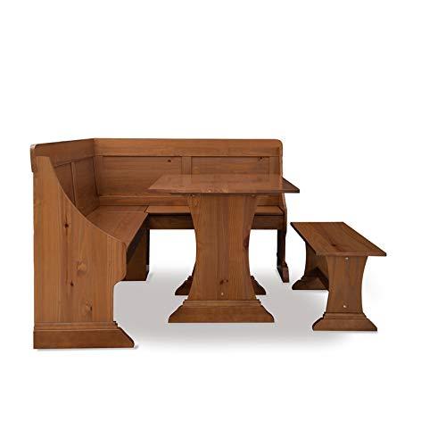 Linon Madigan Pine Patio Conversation Kitchen Breakfast Table Booth Bench Corner Dining Nook Set in Brown