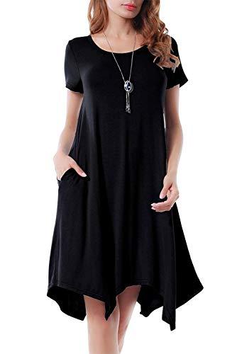 Abito Irregolare Donna Moda Vestito Asimmetrico Elegante Tunica Taglie Forti Abiti Estivi Ragazza Tumblr Retro Swing Vestiti Svasato Trapezio Maglia Lunga per Leggins Vestitini da Spiaggia Midi Dress