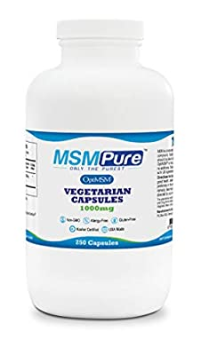 MSMPure Vegetarian Capsules, 1000-mg/capsule, 250 Count, Pure MSM Sulfur Supplement for Joint Pain, Muscle Soreness, Inflammation Relief, Immune Support, Skin, Hair & Nails, Made in USAs