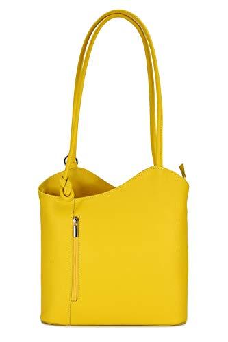 Belli ital. Ledertasche Backpack 2in1 Damen Rucksack Leder Handtasche Schultertasche - Freie Farbwahl - 28x28x8 cm (B x H x T) (Gelb)