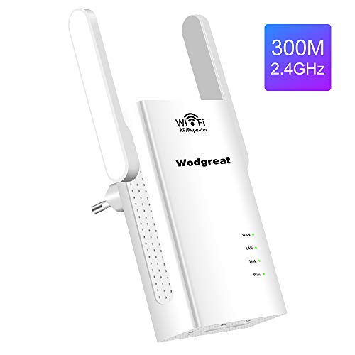 Wodgreat WLAN Repeater Wireless Verstärker Mini Router Multifunktion WiFi 2.4G Signal Booster Access Point 300 Mbit/s Range Extender 2 Ethernet Ports,Kompatibel Mit Allen WLAN Geräten