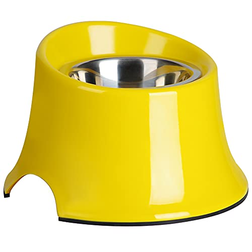 Super Design Elevated Dog Bowl Raised Dog Feeder for Food and Water, Non Spill Edges & Non Skid Sturdy Melamine Stand, Reduce Neck Stress, Less Regurgitating and Vomiting 4 Cup Yellow