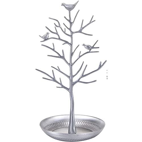 Cómoda de exhibición de la exhibición del collar Pendiente Organizador del titular de los pájaros de plástico Soporte de árbol con bandeja Antigua pulsera Anillos Rack Tower Decoración para mujeres ni