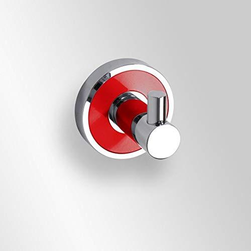 Kleiderhaken Messing verchromt silber mit rotem Ring 5,2 x 5 x 5,2 cm Badartikel Bad Zubehör Badezimmer