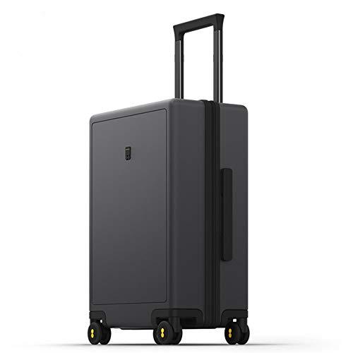 Zoueroih - Maleta de mano rígida, maleta de equipaje con un maletín de equipaje con 4 ruedas dobles de plata, ABS + policarbonato, gris, 24inches