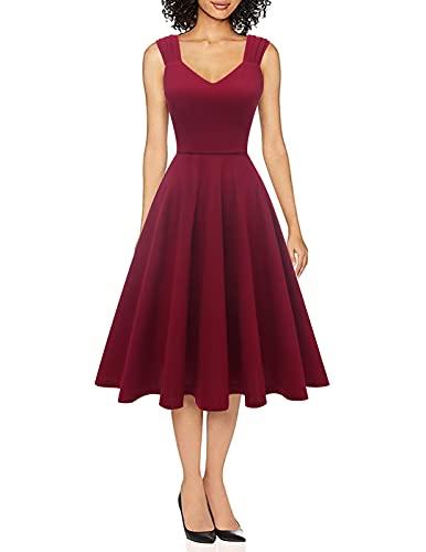 DRESSTELLS Damen 1950er Midi Rockabilly Kleid Vintage V-Ausschnitt Hochzeit Cocktailkleid Faltenrock Burgundy XS