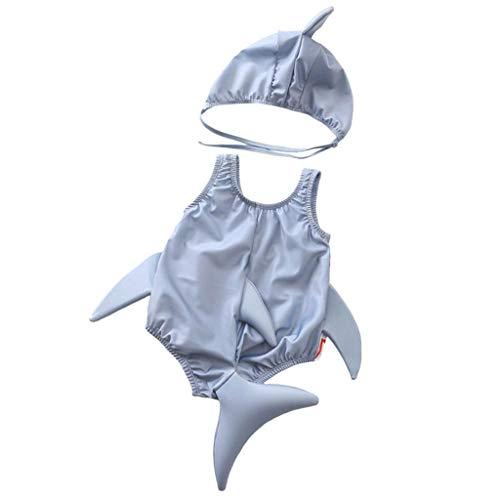 YWLINK Traje De BañO De Una Pieza De TiburóN Tridimensional De Dibujos Animados Sin Mangas para NiñOs + Traje De BañO con Sombrero Estampado De Franja Verano BañAdor NatacióN Ropa De Playa