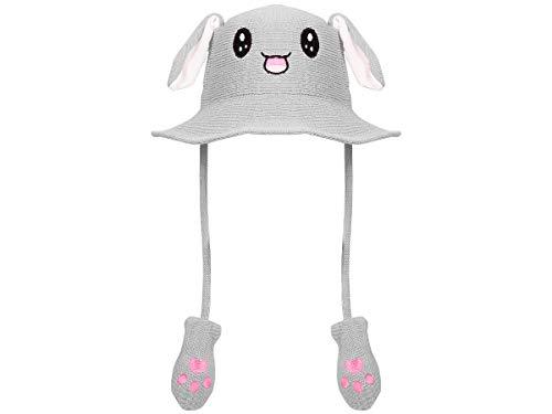 Lustige Mütze mit Ohren Bunny Festival Hat Hasen Häschen Hut beweglich Plüsch Pump Airbag , Farbe: grau - für Kinder & Erwachsene