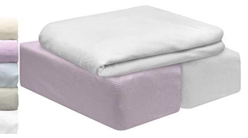 Lovely Hippo | Juego 3 PZA | 2 Sábanas para Cuna Algodón Bio & 1 Protector Impermeable para colchón | Grandes Gorros elásticos completos | Oeko Tex para Cuna (Rosa Claro, 60 x 120 cm)
