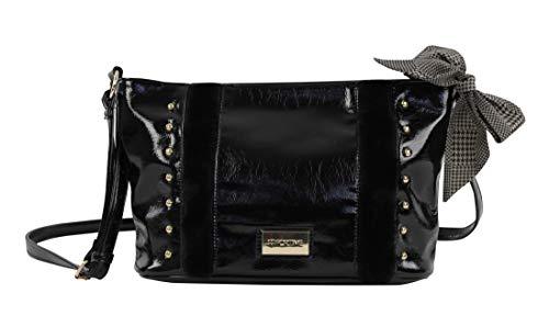 For Time, Bolso shopper grande de hombro con tachuelas para Mujer, Negro, 28x20x11 cm (Zapatos)