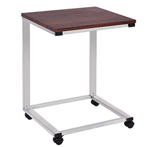 COSTWAY Laptoptisch mit Rollen, Beistelltisch Sofatisch Notebooktisch Pflegetisch Ablagetisch Metall + Holz 50x40x64,5cm (Silber)