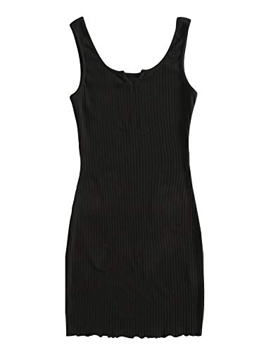 DIDK Damen Bodycon Tank Kleider Figurbetont Minikleid Cami Bleistiftkleid Freizeitkleid mit Wellensaum Schwarz L