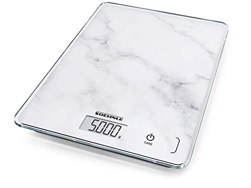 Soehnle Page Compact 300 Marble, digitale Küchenwaage, Marmormustern Gewicht bis zu 5 kg, Haushaltswaage mit patentierter Sensor-Touch-Funktion, elektronische Waage inkl. Batterien, grau
