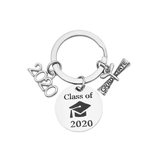 Holibanna 2020 Llavero de graduación Colgante Llavero Colgante Colgantes Clase de 2020 Regalo para graduados universitarios de Secundaria Suministros para Fiestas (Plata)