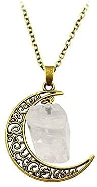Collar de Luna de Piedra Simple Original Cuarzo Irregular Vintage con Cadena de 18 Pulgadas