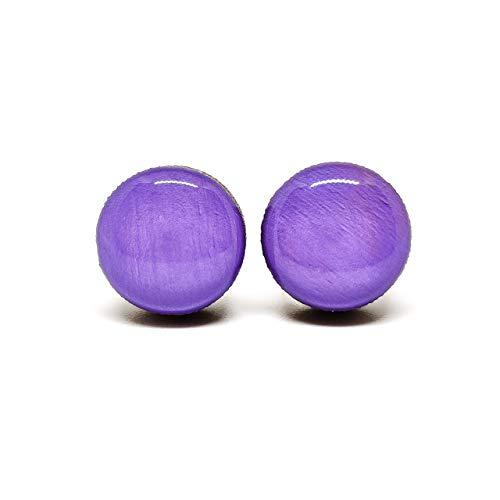 Stud Earrings, Lavender, 10 mm, Handmade, Stainless Steel Posts for Sensitive Ears