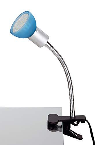 Trango 2989-010 LED Klemmleuchte, Tischleuchte, Leseleuchte, Clip Lampe mit blauem Glas Lampenschirm incl. 1x warmweiß GU10 LED Leuchtmittel 3 Watt ideal Nageldesign, Nagelstudio, Kosmetikstudio