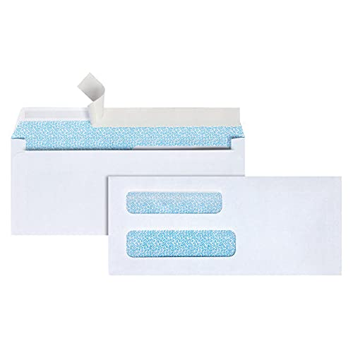 Office Depot Double-Window Envelopes, 8 5/8in. (3 5/8in. x 8 5/8in.), White, Self-Adhesive, Box of 250, 77159