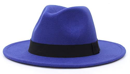 EOZY-Cappello Panama Vintage Uomo Unisex Fedora in Cotone Classico Bombetta Jazz Berretto Tinta Unita Decorazione Cinturina (Circonferenza 56-58cm, Blu)