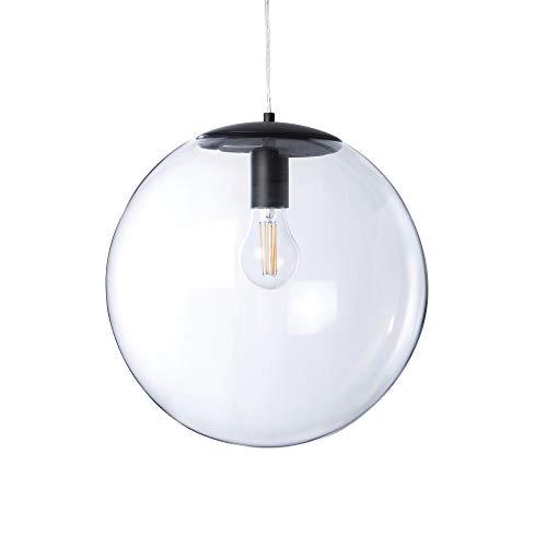 LUSSIOL Luminaire Globus, suspension verre, 40 W, noir, ø 34 x H 33 cm