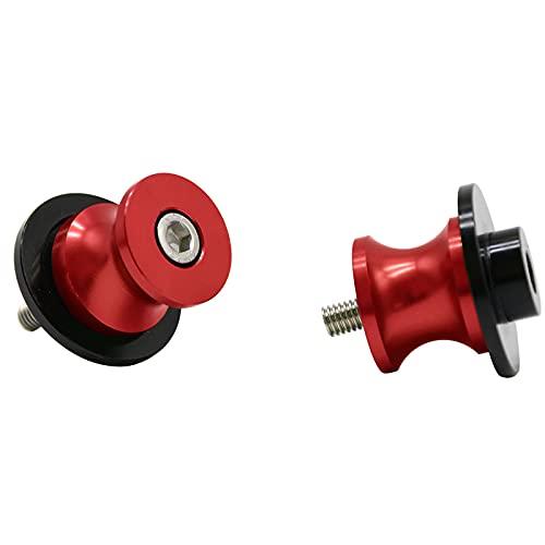 2pcs Motocicleta 8MM Aluminio Basculante Bobina de Deslizadores Tornillos del Soporte para GSXR 600 750 1000 (Rojo)