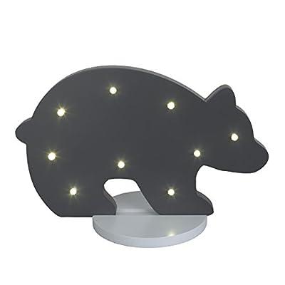 NoJo Bear Shaped Lighted Nursery Decor, Dark Grey