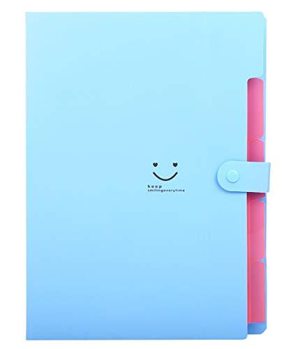 PULABO - Carpeta de papel para archivos, tamaño A4, organizador de documentos de acordeón, color azul, cómodo y respetuoso con el medio ambiente