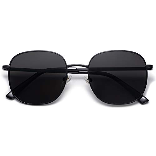 SOJOS Classic Square Sunglasses for Women Men with Spring Hinge AURORA SJ1137 with Black/Grey
