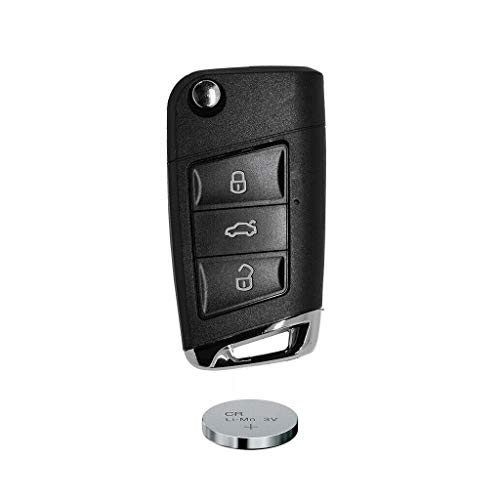 Auto Schlüssel Funk Fernbedienung 1x Klapp Umbau Gehäuse 3 Tasten + 1x Rohling HAA + 1x CR2032 Batterie kompatibel mit VW SEAT Skoda bis BJ. 11/2009