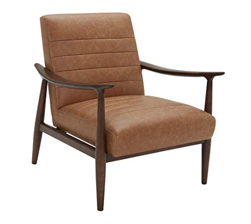 """Amazon Brand – Rivet Spear Mid-Century Modern Channel Tufted Leather Accent Chair with Wood Arms, 29.1""""W, Cognac Brown"""